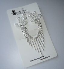 APPEALING DOUBLE HAIR COMB w WHITE FAUX PEARLS & SPARKLING CRYSTALS