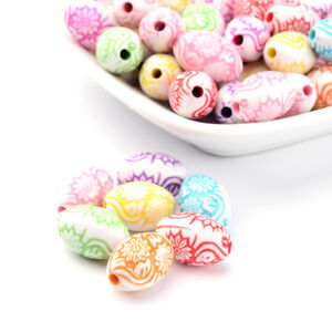 100pcs Colorful Acrylic Oval Beads Carved Flower Loose Spacers Beading 16x10mm
