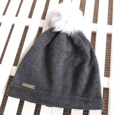 MOOSE KNUCKLES Canada Grey Cashmere Slouchy BOBBLE Beanie Hat Toque Womens Femme