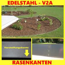 Rasenkante V2A Edelstahl  L 100 cm x H 14 cm mit spezieller Versteifungskante