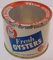 Antique Vtg CAPTAIN JOHN OYSTERS 3/4 PINT GRAPHIC ADVERTISING TIN NEW YORK USA