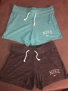 Nike Athletic Cotton Blend Women's Shorts - Size Small - Gray & Green Drawstring