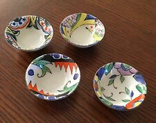4 SMALL BRIGHTLY MULTI COLORED JAPANESE SAKE SAKI CUPS 4 DIFFERENT DESIGNS