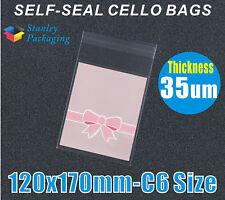 500x C6 Size Cello Bag 35UM 120x170mm Cellophane Clear Plastic Bags 12x17CM