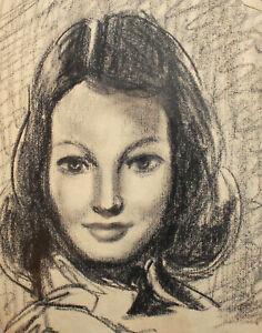 Antique pencil painting girl portrait