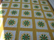 Vtg 1970s FLOWER POWER Applique Floral Quilt Top King Size Yellow Calico Golden