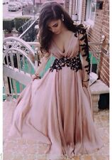 Elegant V-neck Long Sleeve Prom Gowns Formal Party Evening Dresses With Applique