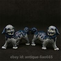 "6.3""Chinese Jingdezhen Blue White Porcelain Foo Fu Dog Guardion Lion Statue Pair"