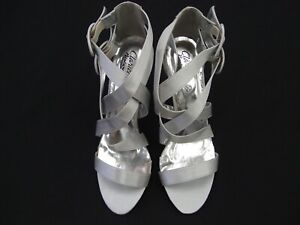 CLARICE SILVER SATIN LADIES FORMAL DRESS HEELS SHOES WEDDING PARTY DEMI