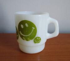 Anchor Hocking Fire King Coffee Mug Green Smiley Face Stacking Vintage USA