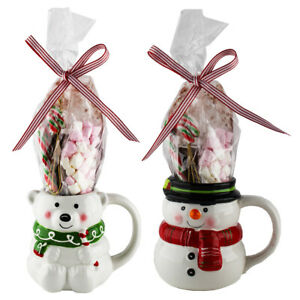 Luxury Hot Chocolate Mug Set Of 2 - Polar Bear & Snowman