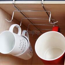 Under Shelf Mug Cup Rack Metal Chrome Storage Organizer Holder for Kitchen