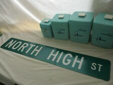 Original Vintage ( NORTH HIGH st ) 36 X 6 Metal Street Sign Cannabis Dispensary