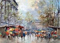 Flower Market Paris Painting by Antoine Blanchard Art Reproduction