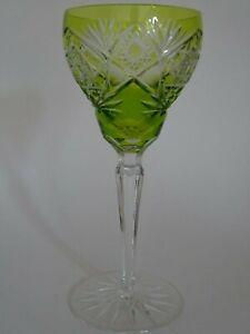 AMAZING LARGE VINTAGE ROEMER WINE GLASS CRYSTAL DESIGN COLOR LEMON