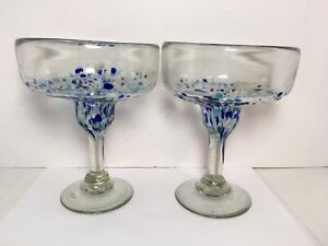 Set Of 2 Hand Blown Margarita Glasses Dotted Textured 14 Oz