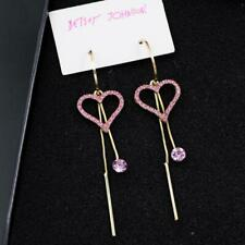 Betsey Johnson Crystal Rhinestone Pink Love Heart Drop Earrings Fashion Jewelry