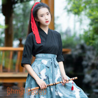 Women's Dress Tops Skirt Suit Red-crowned Crane Hanfu Clothing Han Chinese Dress