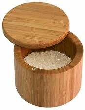 Totally Bamboo Salt Box Cellar Keeper Round Herbs Spices Storage 20-2083