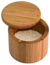 Totally Bamboo Salt Box Cellar Keeper Round Herbs Spices Storage 20-2083