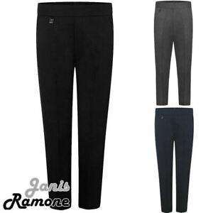 Boys School Trousers Half Elastic Back Waist Pull Up Pocket Uniform Pants 2-13