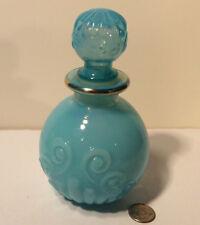Vintage Avon Hard To Find Embossed Bulbous Blue Milk Glass Gold Trim Decanter