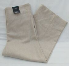 Marks /& Spencer Turquoise Blue Crop Trousers Size 10 Pure Linen Elastic Waist