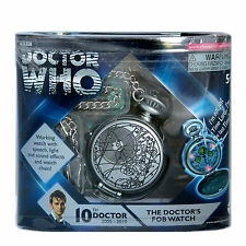 NEW* 10th Dr Doctor Who Working FOB POCKET WATCH - Plastic Case Speech Light SFX