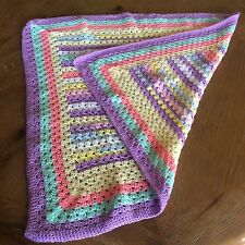 Hand Knitted, Baby Girl's Multi-Coloured Pram Blanket