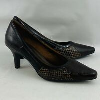 "Womens 7.5M LifeStride Katrina Pumps Brown Faux Leather 2.5"" High Heel Shoes"