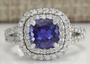2.69 Carat Natural Tanzanite 14K White Gold Diamond Ring
