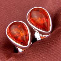 "925 Sterling Vintage Silver Plated Teardrop Shaped Amber Gems Dangle Earrings 2"""