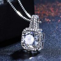 3CT Halo Round VVS1 Diamond Pendant Necklace With Free Chain 14K White Gold Over
