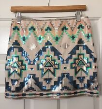 Express Tribal Multicolor Boho Bodycon Sequin Occasion Party Skirt Size S