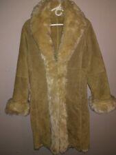 Wilsons Suede Leather Jacket Coat Faux Fur Long Parka Tan Beige Women's Winter S