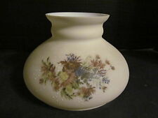 "Vtg Floral 7"" Glass Oil Lamp Shade Student w/ Hand Painted Accents"