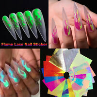 16Pcs Holographic Fire Flame Nail Sticker Hollow Nail Art Stickers Manicure