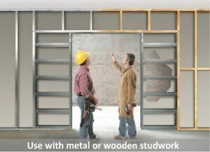 Eclisse Double Pocket Door Kit Quick-Click Steel Frame System * FREE Jamb Kit*