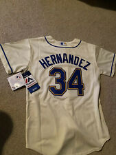 Seattle Mariners King Felix Hernandez Majestic Youth Medium M Cream Jersey New