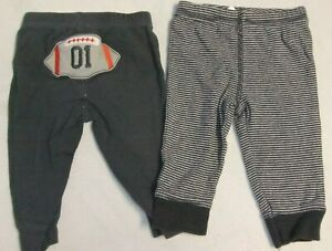 2 Pair Pre-Owned Carter's Infant Boys 6M Pants 100% Cotton Gray Football