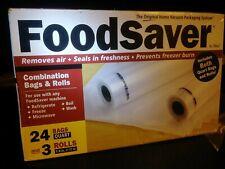 NEW BOX OF COMBINATION OF FOODSAVER BAGS &  ROLLS 24 QUART BAGS 3 ROLLS