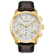 Bulova Men's Quartz Chronograph Brown Leather Gold-Tone 46.5mm Watch 97B169