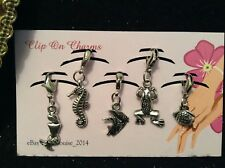 Clip on Charms - x5 Sea Life - (Mermaid, Seahorse, Angel Fish, Frog, Fish)