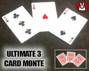 ULTIMATE 3 CARD MONTE GIMMICK CARDS CHASE THE ACE CHEAT GAMBLE EASY MAGIC TRICK