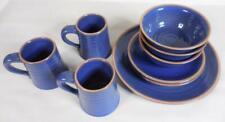 Frankoma Colorworks Navy Blue Dinnerware Plates, Bowls, Coffee Mugs