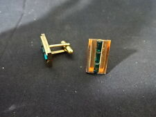 Cuff links Jewelry Men Suit Rectangle Gold Tint With Green Gems