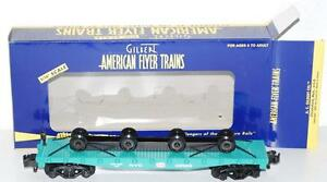American Flyer 6-48529 New York Central NYC Flat car w/ Wheel Load Jade green S