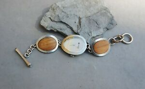 Lucky Brand Quartz Woman Bracelet Watch Brushed Silver Tone Wood Inlay Toggle