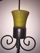 Vtg Home Interior Homco Votive Candle Holder Sconce Cup Gold Hobnail Glass