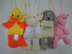 Hand Knitted Animal Bag - soft toy - 4 to choose from
